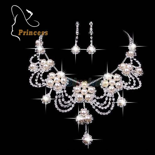 Fashion  Necklaces Earrings Vintage Rhinestone Crystal Wedding Bride Party Wholesale Bridal Jewelry Sets  B18