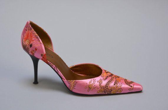 90s D'Orsay Pumps  Vintage Nineties Pink Chinese by Day17Vintage