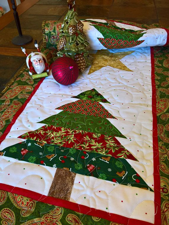 Quilted Christmas Tree Table Runner