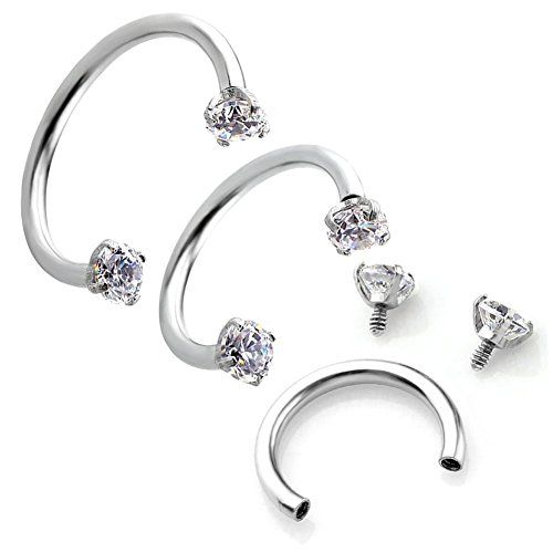 LilMents 10 Piece Cubic Zirconia Stainless Steel Lip Nose Nipple Eyebrow Ear Daith Body Ring cD3V0BXFQP