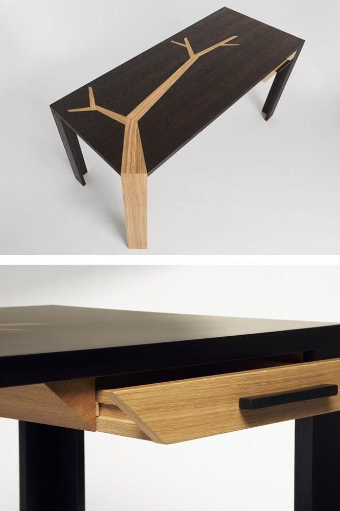 Wooden writing #desk with drawers ANGKOR by Studio Olivier Dollé