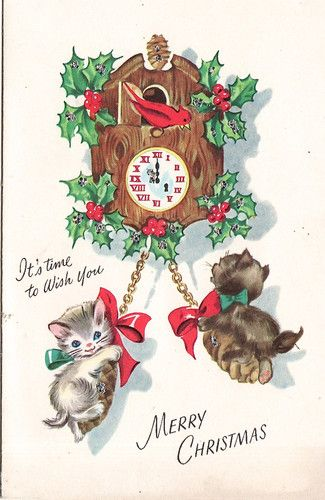 Charming kittens play with a holly-festooned cuckoo clock on this vintage Christmas card.  A Cardinal Creation Card.