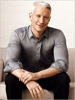 Anderson Cooper.... Gay in both ways! Doesn't he always seems so happy and now that he's OUT'ED himself, some things make since... so stylish, handsome, rides his bike to work, cares about the economy... That's a real man there!