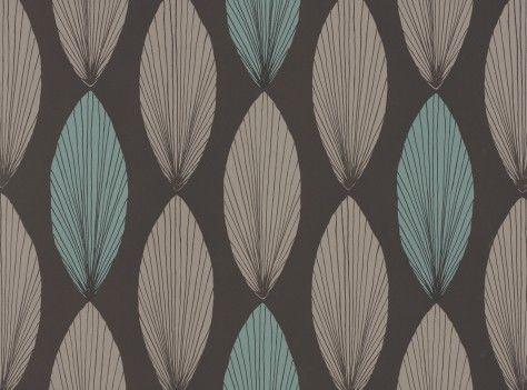 Laurus Wallcovering Lagoon - Fougere Wallcoverings : Romo Designer Fabrics & Wallcoverings, Upholstery Fabrics