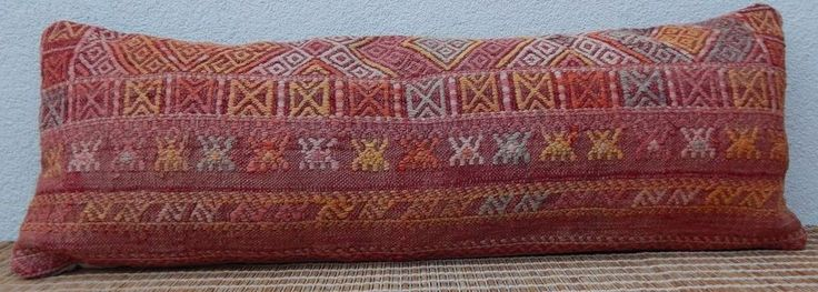 14 X 40  Faded Color Queen Boho Bedding Kilim Pillow Cover,King Long Bed Cushion #Handmade