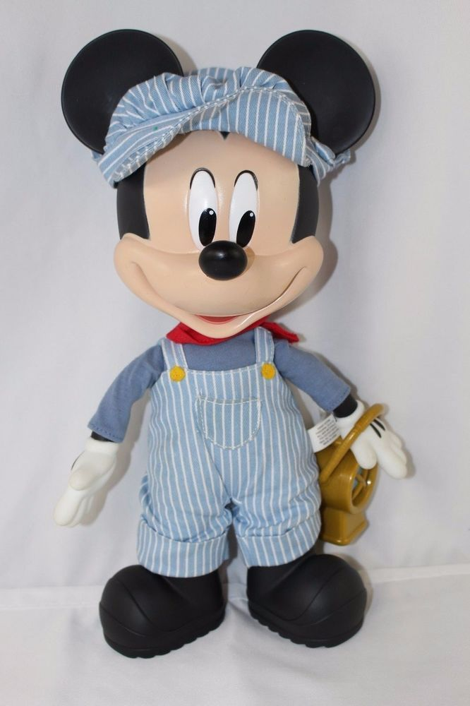 "Walt Disney 12"" Talking Mickey Mouse Train Conductor Pull String Doll Plush Toy #Disney"