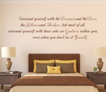 Edmund Lee quote: Surround yourself with the Dreamers and Doers,the Believers and Thinkers, but most of all,surround yourself with those who see greatness within you,even when you don't see it in Yourself.  All our wall stickers/decals are available in a great range of sizes and colours - and can be personalised to be truly custom.