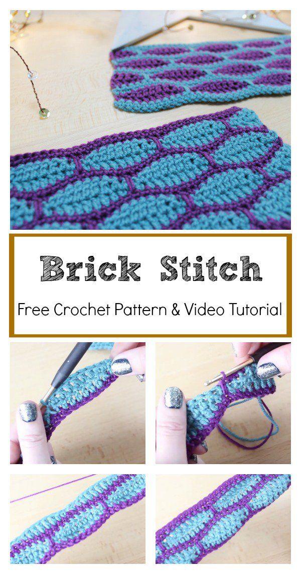 Brick Stitch Free Crochet Pattern and Video Tutorial #freecrochetpatterns #stitc…