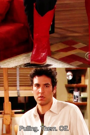 Red cowboy boots. Only Ted Mosby could pull them off.