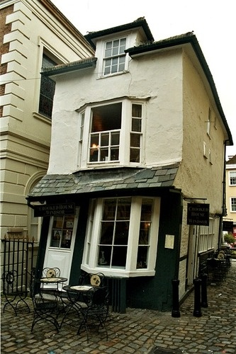 """The Crooked House of Windsor"" got its tilt when unseasoned green oak was used in a remodel back in the 1700's."