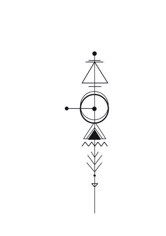 Geometric Arrow Tattoo | I would personalise using my own astrological & elemental signs