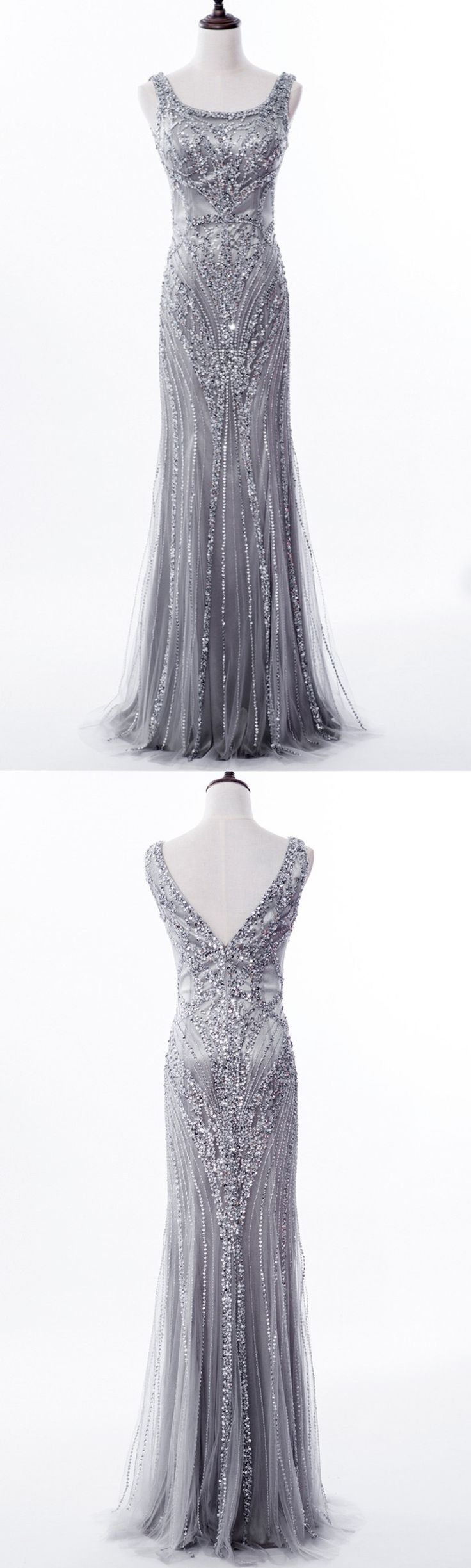 Long Prom Dresses,Grey Sequin and Beaded Embellished Floor Length Trumpet Evening Dress Featuring Sleeveless Bodice with Square Neckline