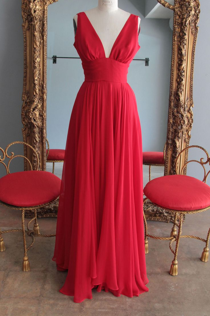 29 best red bridesmaid gowns with sleeves bridesmaiddesigners red deep v neck long chiffon bridesmaid dress features long skirt with wide ruched details at ombrellifo Choice Image