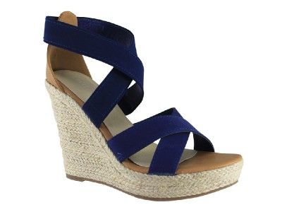 Nautical platform wedges... so much height! Lavish Pandora Sythenic Wedge - Navy Canvas
