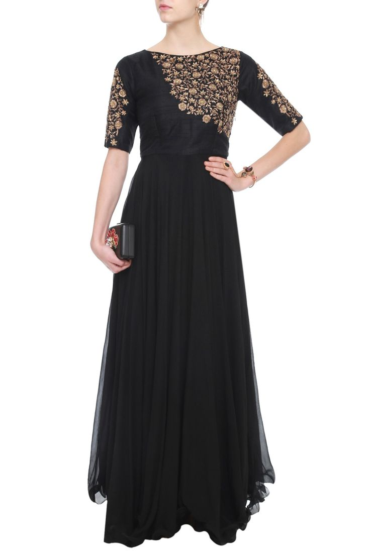 Black Flowy Gown by Tanko. Shop now: http://www.onceuponatrunk.com/designers/tanko #contemporary #black #gold #fashion #elegant #style #embellished #gown #tanko #shopnow #onceuponatrunk #happyshopping