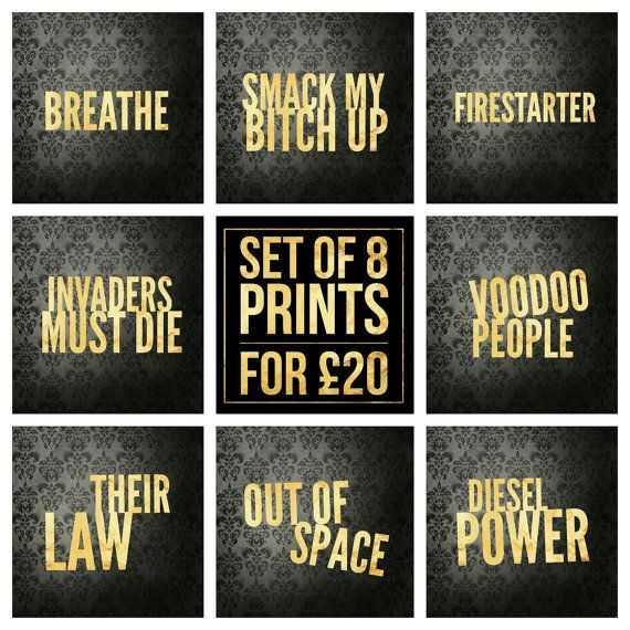 Set of 8  The Prodigy Song Title Prints  by LittlePuffinPrints #musicposters #musictypography #design #poster #musiclyrics #esty #etsyshop #ebay #giftidea #homedecor #mancavedecor #mancave #wallart #quoteprints #musicprints #songart #fanart #setofprints #miniprints #theprodigy #punkrock #firestarter #smackmybitchup
