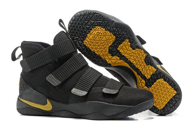 size 40 7986d cb6cb Nike Lebron Soldier 2017 2018 Daily Nike LeBron Soldier 11 Black Gold  Basketball Shoe For Sale