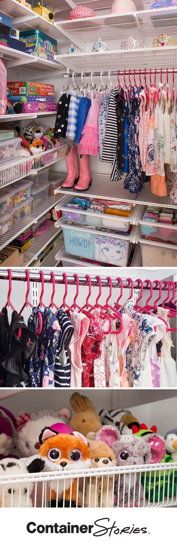 There are so many things to love about this closet – from the pink tubular hangers and Solid Drawers to the elfa Shelf Baskets that corral stuffed animals.