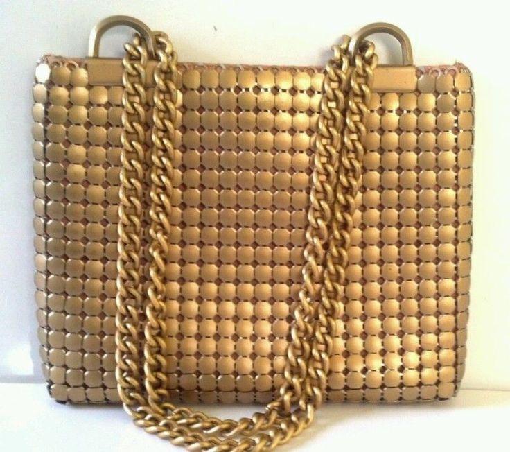 Metal Mesh Handbag Gold Whiting and Davis Vintage