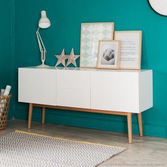 Buffet 2 portes 2 tiroirs en bois laqué blanc pieds chêne L150cm ...