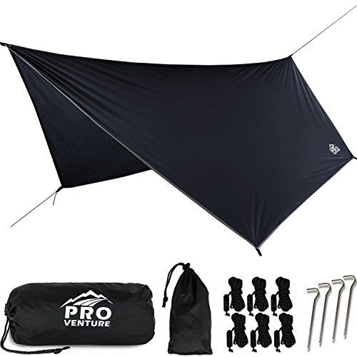 Proventure Large Hammock Rain Fly, Camping Tent Tarp– Premium Waterproof Hammock Shelter. Lightweight Ripstop Nylon 210D. Fast Set Up. No Instructions Needed. A Hammock Camping Essential! (12x9ft HEX). For product & price info go to:  https://all4hiking.com/products/proventure-large-hammock-rain-fly-camping-tent-tarp-premium-waterproof-hammock-shelter-lightweight-ripstop-nylon-210d-fast-set-up-no-instructions-needed-a-hammock-camping-essential-12x-2/