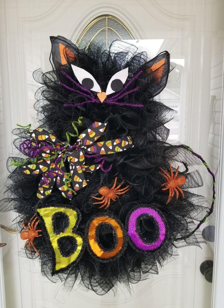 Black Cat Deco Mesh Wreath Wreaths Garland Swags