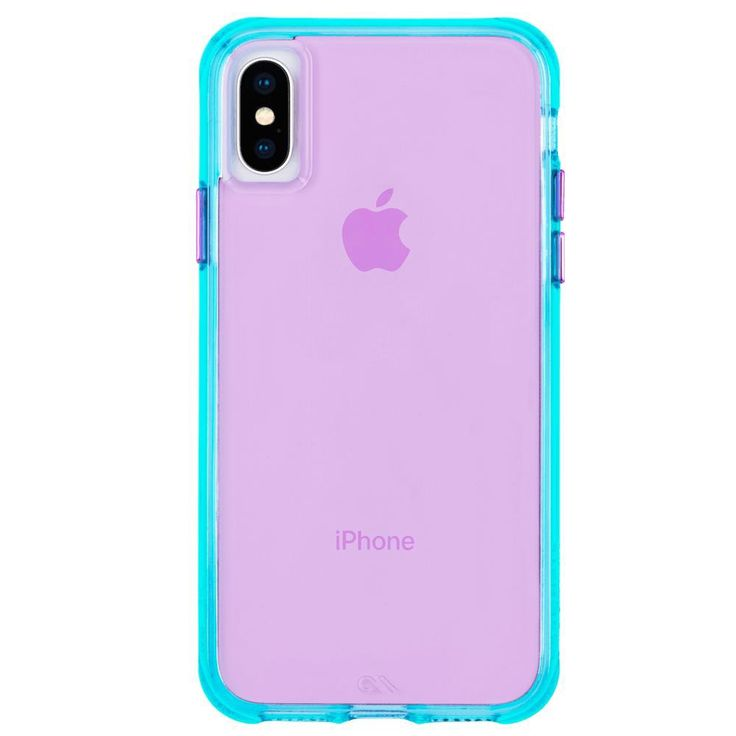 Tough Neon Turquoise Purple Neon iPhone XR Case | Fundas