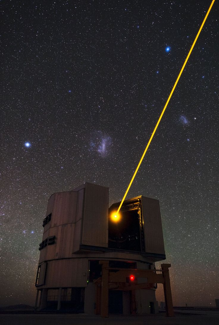 Yepun's Laser and the Magellanic Clouds: Large Telescope, Yepun Laser, Magellan Cloud, Earth Atmosph, Yellow Laser, Beams Create, Laser Beams, Artificial Stars, Outer Spaces