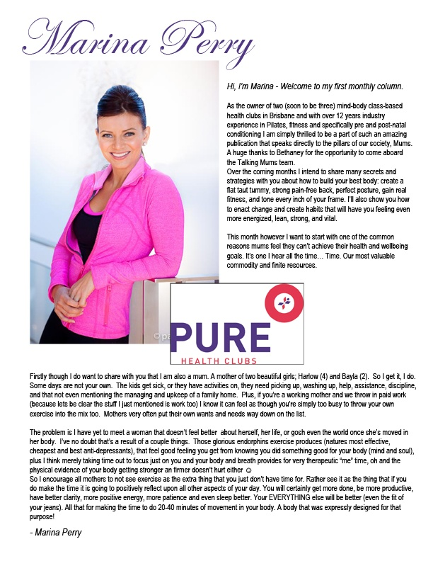 To view her fitness program click here  http://issuu.com/talkingmums/docs/talking_mums_magazine-_august