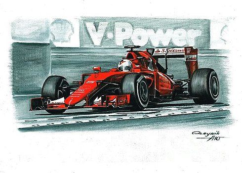 2015, Ferrari SF15-T,  Sebastian Vettel,  Kimi Raikkonen.  Ferrari F1 collection ART by Artem Oleynik. This collection demonstrating Ferrari F1 racing cars since 1950 to 2016 and includes 96 pictures in oil on canvas. The size of each original picture is 25 x 35 cm.