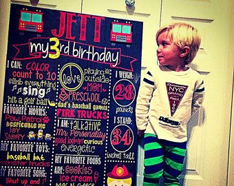 Firefighter Birthday Chalkboard / Any Age Birthday Chalkboard / Firefighter Theme Birthday Chalkboard / Boy Firefighter Birthday Chalkboard