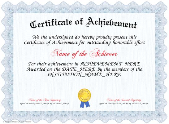 Perfect Sample Of Certificate Of Achievement Intended Certificate Of Achievement Sample