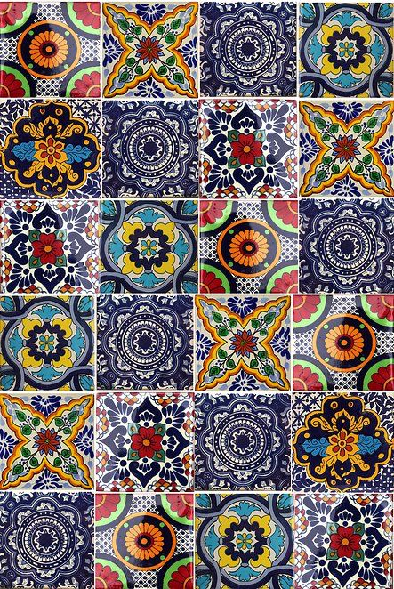 Multi colour tiles mexican talavera tile inspiration pinterest - Azulejos mallorca ...