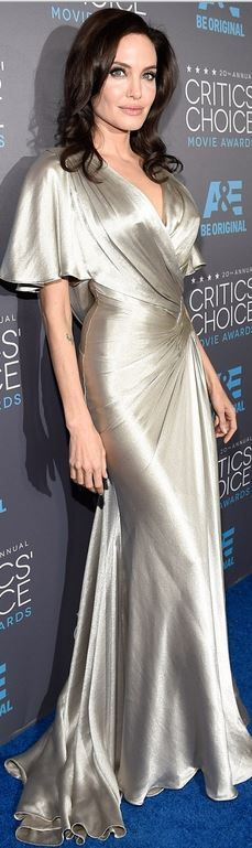 Who made Angelina Jolie's silver gown that she wore in Los Angeles on January 15, 2015?