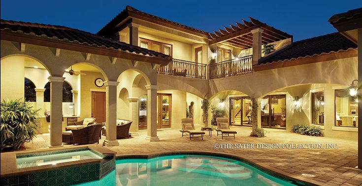Mediterranean House Plan with 3777 Square Feet and 4 Bedrooms from Dream Home Source | House Plan Code DHSW076163