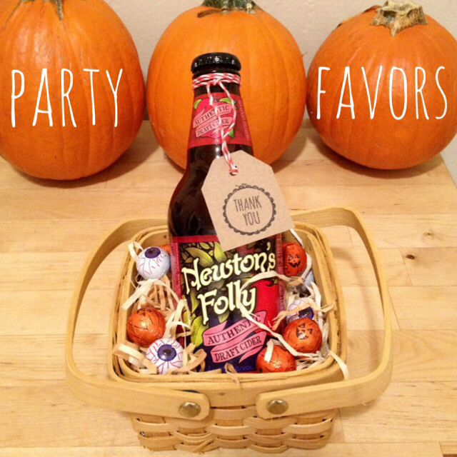 fall or halloween dinner party favors for adults hard apple cider and chocolate in a mini. Black Bedroom Furniture Sets. Home Design Ideas
