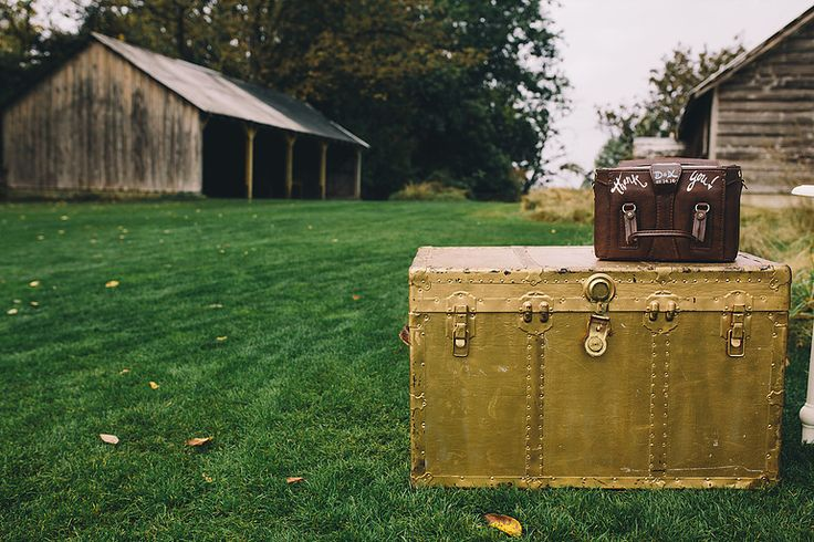 Gold vintage trunk. Yes please! All the wedding inspiration you could possibly need. Swoon worthy wedding at Estate 248. Stunning greenery, calligraphy and candle light.