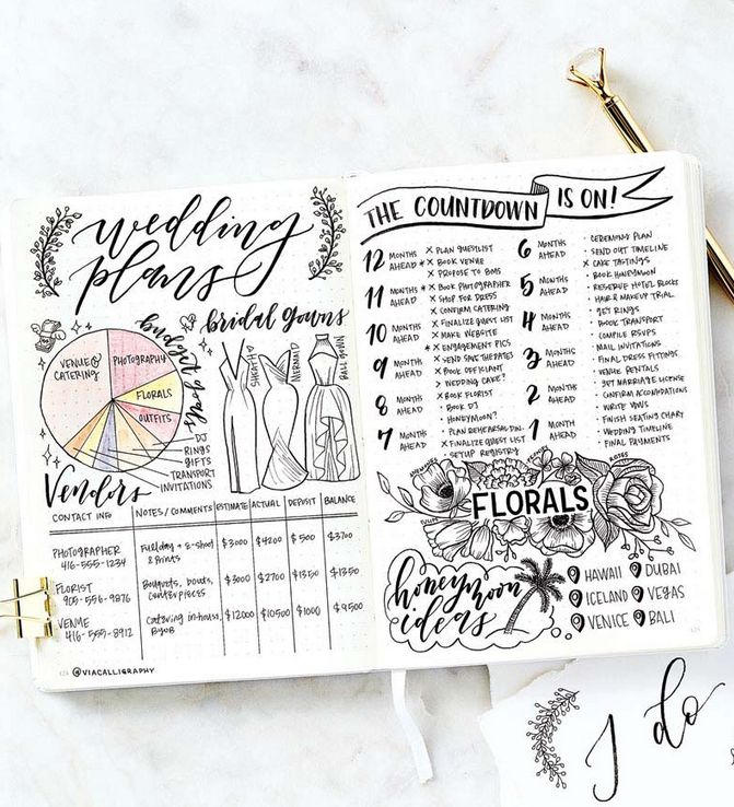 Wedding Planning In The Bullet Journal