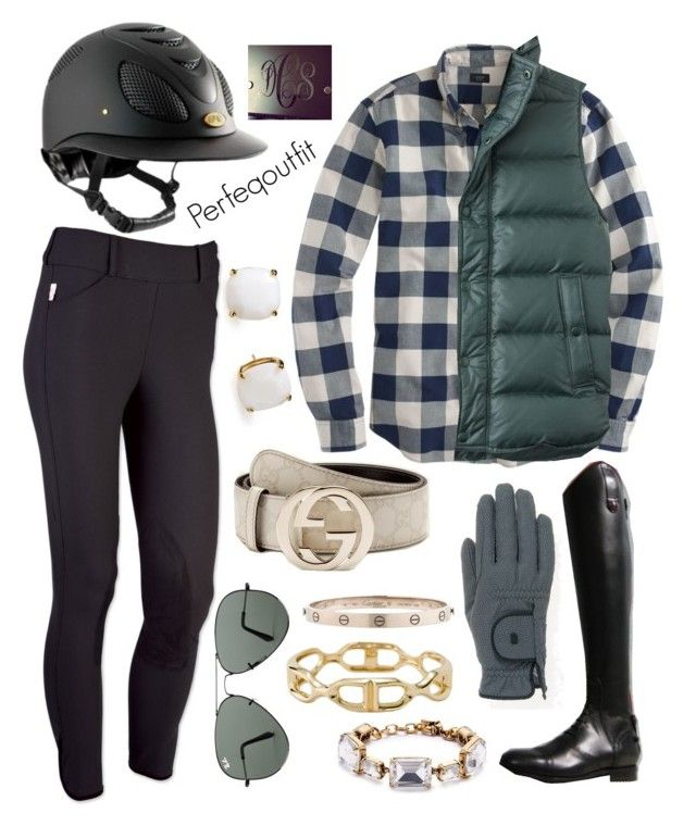 """""""chilly riding day"""" by ponylover42 ❤ liked on Polyvore featuring J.Crew, Roeckl Sports, Gucci, Kate Spade, Ray-Ban and Cartier"""