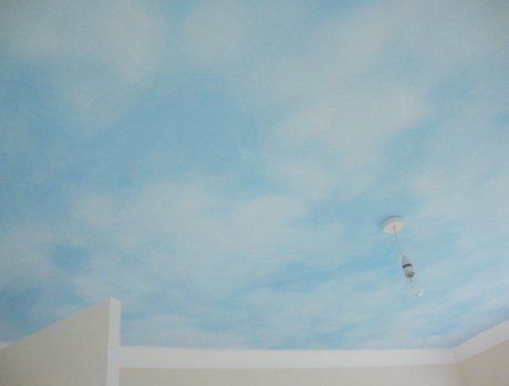 sky painted on the ceiling for a new little baby #nurseryideas #clouds #trompeloeil #lolamurals