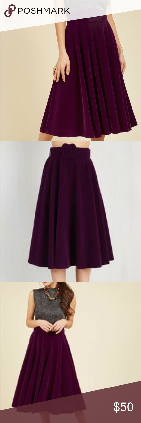 """Purple Velvet Winter Skirt Belt Modcloth S/M New with tags- size UK 10/ US 6. Modcloth's """"Make Your Presence Throne Skirt"""". This skirt is the most beautiful thing ever! I would never let it go if it fit me! Modcloth Skirts Midi"""