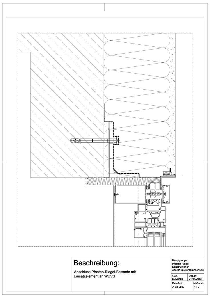 a 02 0017 anschluss einer pfosten riegel fassade mit einsatzelement an wdvs a 02 0017. Black Bedroom Furniture Sets. Home Design Ideas