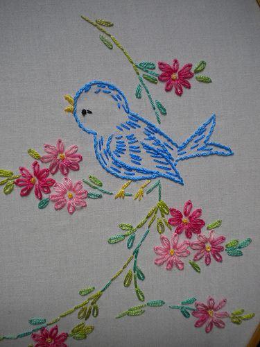 Vintage Bird & Flower Pattern: Right Bird   Detail of right …   Flickr