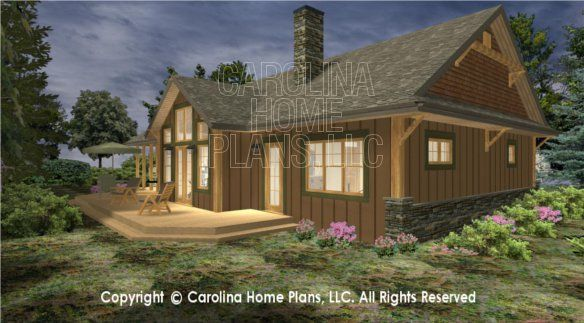 3D Images For CHP-SG-1688-AA | Small Craftsman Cabin 3D House Plan Views