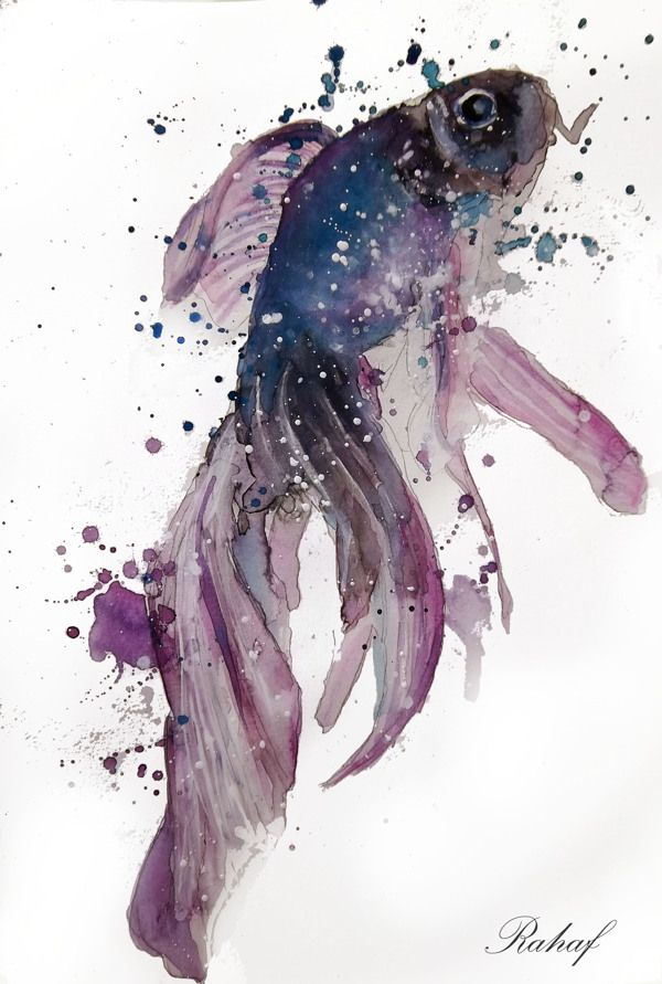 "Watercolor ""Fish"" by artist Rahaf Dk Albab, via Behance"