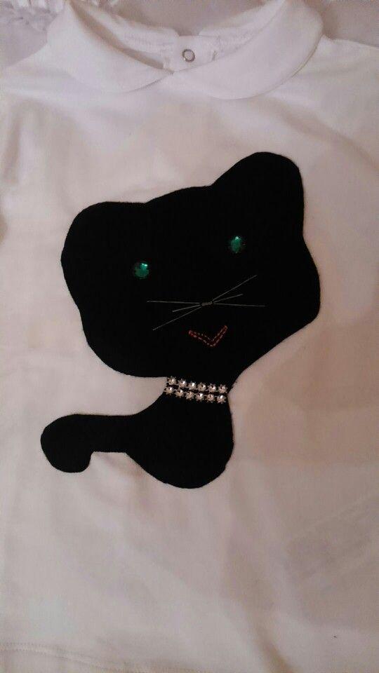 Camiseta gatito fieltro