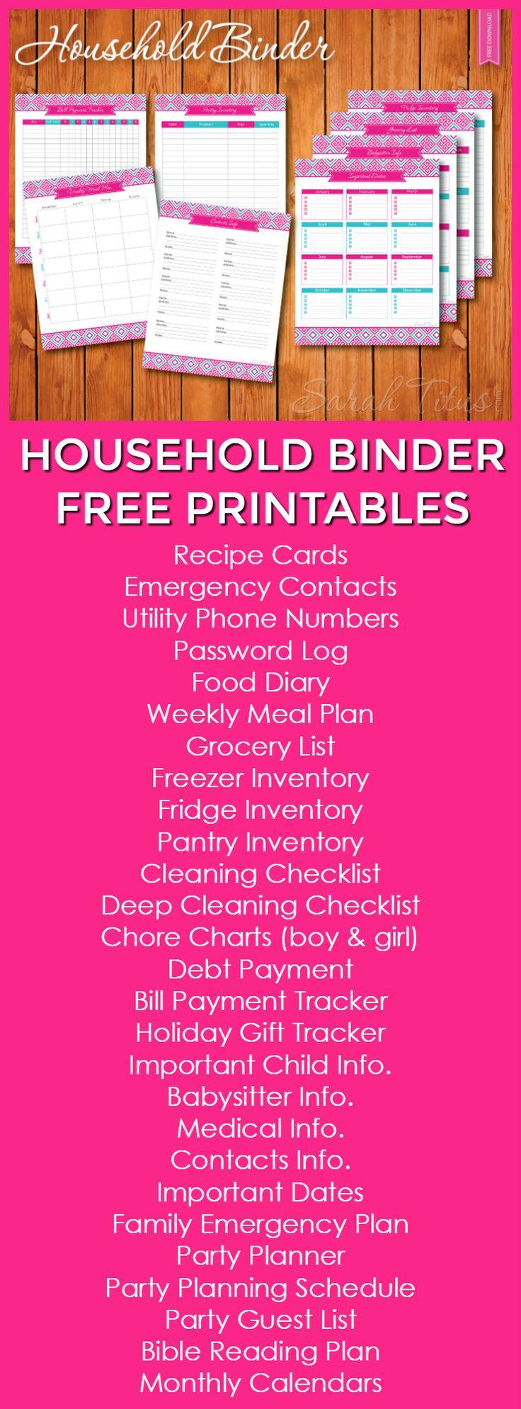 Household Binder Free Printables