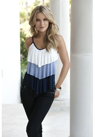 tiered solid and stripe v-neck cami $14.90 from body central