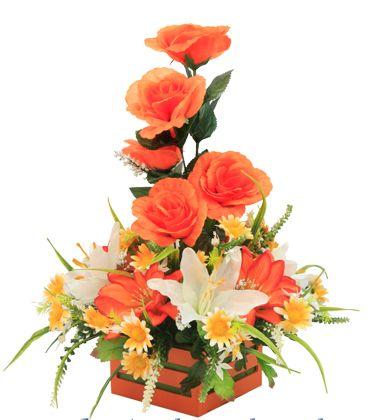 Centro de mesa color naranja. Manualidades con flores