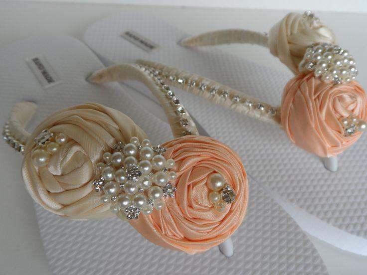 Salmon & Ivory Bridal Flip Flops / Bridal Color by RossbyAccesorios, $40.99